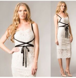 19fd2e250cf2 Image is loading Giselle-And-Sophia-Lace-Cocktail-Party-Midi-Ivory-
