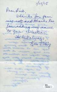 Ken Strong Signed Jsa Handwritten Letter Authentic Autograph