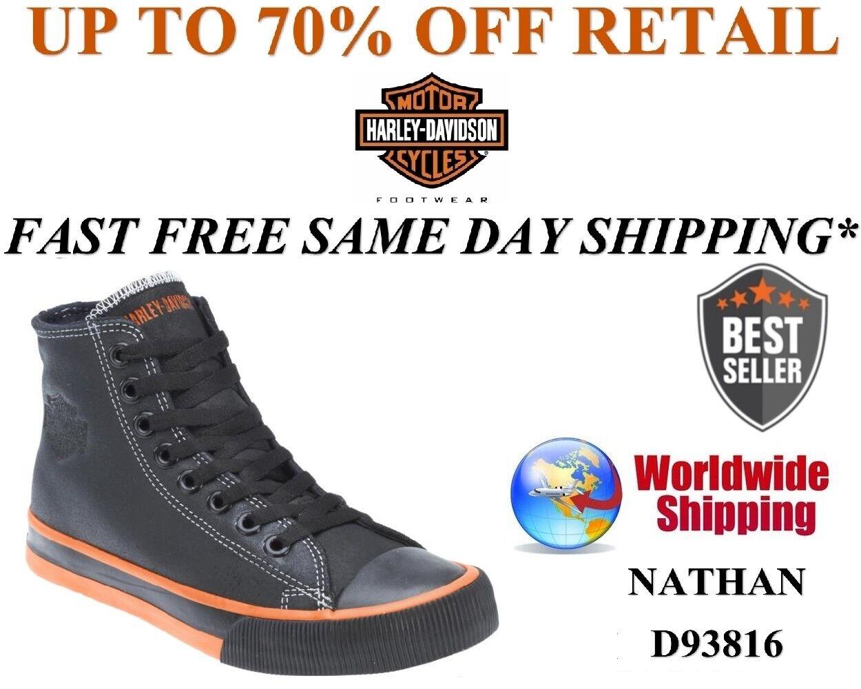 Harley-Davidson D93816 Mens Nathan Black Hi-Top Sneakers shoes