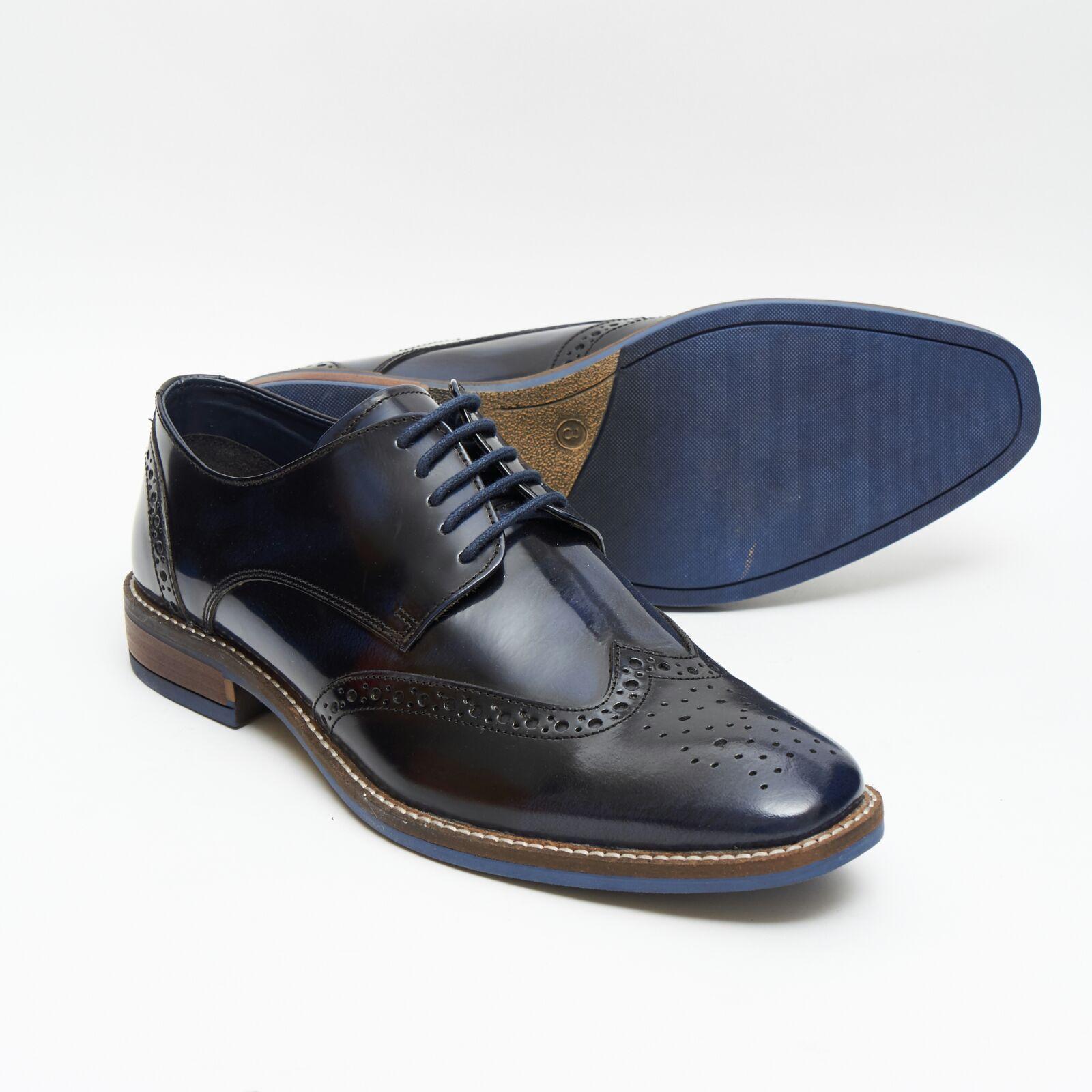 Da Uomo in Pelle Lucini Smart Oxford Brogue Stile Lacci bordo Scarpe, blu o bordo Lacci 13212 ac2f97