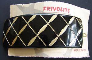 Vintage-Hair-Barrettes-Black-Gold-Color-rectangle-Barrette-made-in-France