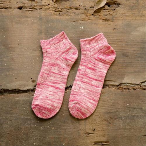 5 Pairs Women Casual Tie-Dye Cotton Blend Socks Breathable Ankle Low Cut Socks