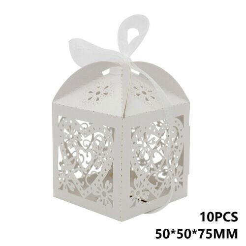 PARTY WEDDING FAVOR BOXES CANDY GIFT BAG LASER CUT HOLLOW LACE+RIBBON 10PCS 066