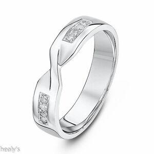Details About 9ct White Gold Diamond Set 4mm Twist Crossover Ring Wedding Band Hallmarked