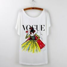 SNOW WHITE VOGUE Print | Casual White Tshirt | Disney Princess | Size Large