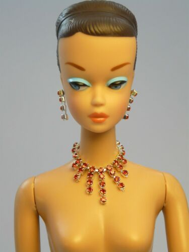 Barbie Repro Vintage FR Handmade Necklace Earrings Rhinestone Jewelry NE100026