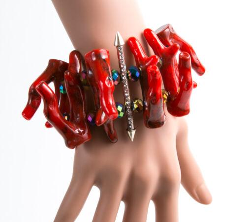 FENTON /& Fallon Crimson corail empilés Cuff Bracelet