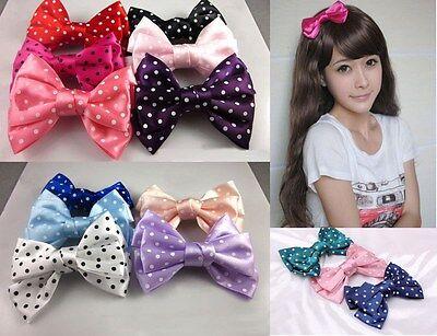 Lovely Sweet Women Girls Satin Butterfly Bow Polka Dot Hair Clip Accessories