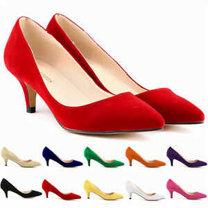 Ladies Sexy Low Mid Kitten Heels Shoes Faux Suede Pointed Toe