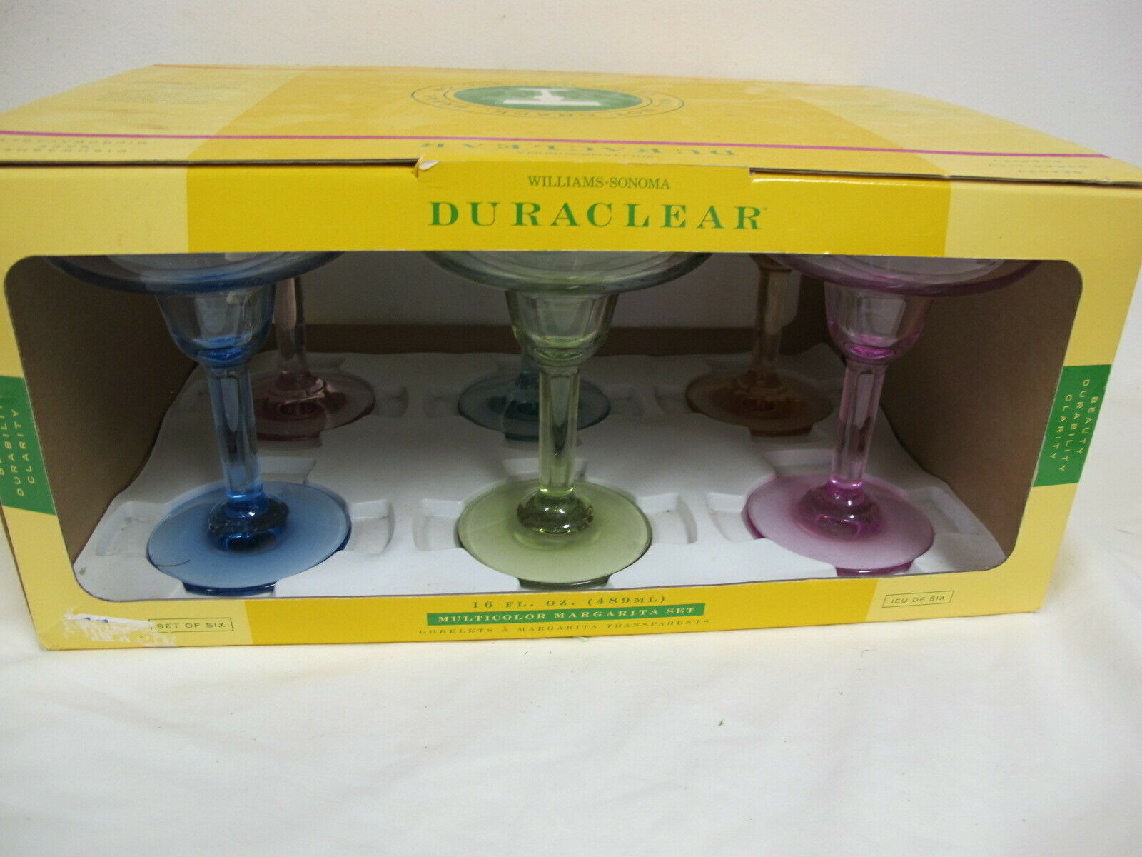 WILLIAMS SONOMA DURACLEAR MARGARITA GLASSES (6) SET IN BOX MULTI COLOR