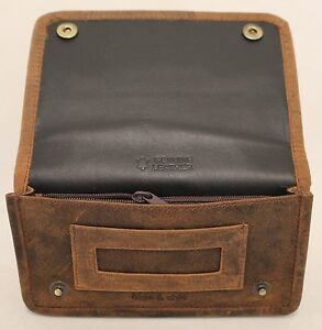 Quality Full Grain  Vintage Leather Tobacco Pouch. Style:12033. BLACK/BROWN 728360253071