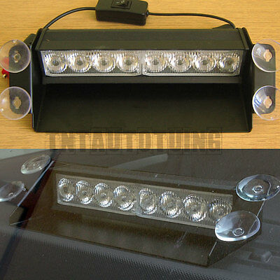8 LED 12V CAR YELLOW STROBE LIGHT FLASH BEACON EMERGENCY WARNING RECOVERY