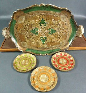 Italian-Florentine-Florence-Tole-Tray-Green-Decorative-amp-Floral-Plates-Serving-Set