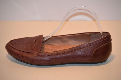 NURTURE Women/'s Brown Leather Slip On Driving Flat Loafers Size 9.5M