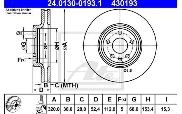 ATE Juego de 2 discos freno Antes 320mm ventilado para AUDI A4 Q5 A5