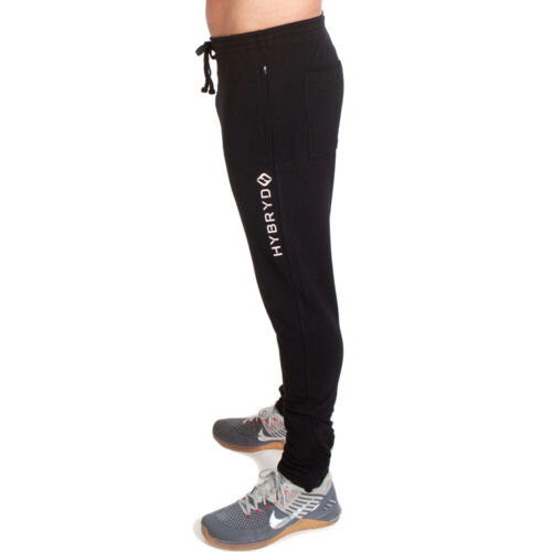 Hybryd Fit Mens Track Jogger Black for Crossfit Training