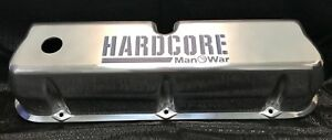 Hardcore Manowar Small Block Ford Polished CNC Engraved Tall Valve Covers