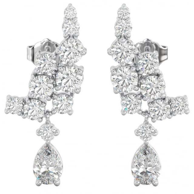 f8d98ff6d 925 Sterling Silver Art-deco Ladies Tear Drop Bridal Earrings for ...