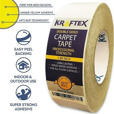 Double Sided Carpet Tape 90ft//30Yrd Roll Double Sided Tape Heavy Duty for Rug...