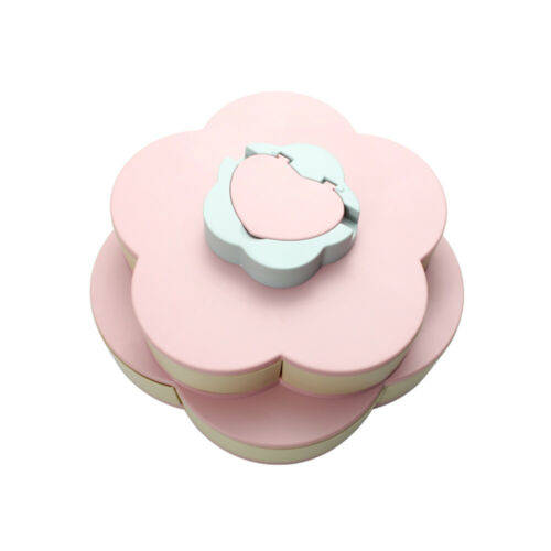 Double Layer Snack Box Candy Plates Petal-Shape Rotating Snack Tray 2-deck V6C3