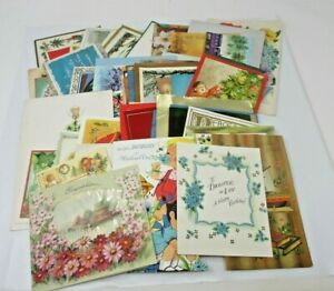 1950s-to-1980s-Vintage-Used-GREETING-CARDS-Lot-Approx-70-Ct