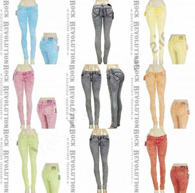 New Women Acid Wash Skinny Leg Stretch Distressed Denim Jeans 1 3 5 7 9 11 13 15