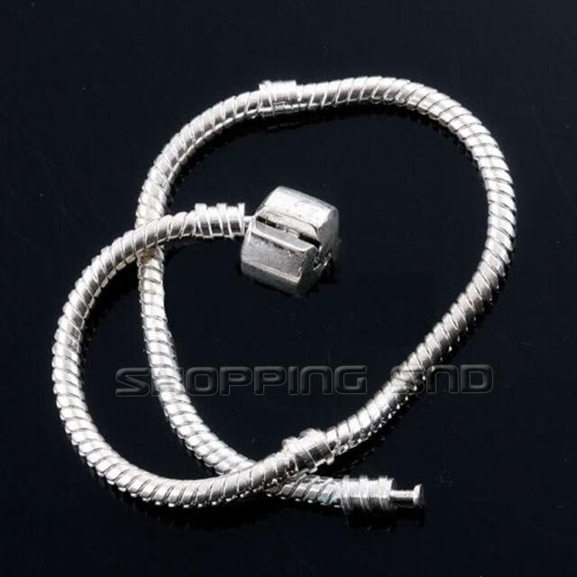 Snake Chain Silver Plated Charm Bracelet Fit European Beads Plain Clasp 16-23cm