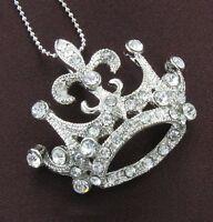 Princess Tiara Crown Clear Rhinestone Necklace Pendant