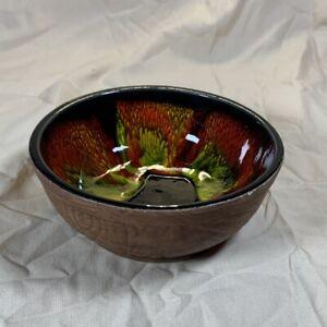 Vintage CALIFORNIA pottery SEQUOIA WARE Bowl Orange Drip Glaze 613-A USA