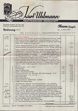 THUM ERZGEB., Rechnung 1937, Viscobil-Motoren-Öl Kraftfahrzeug-Reparatur Uhlmann