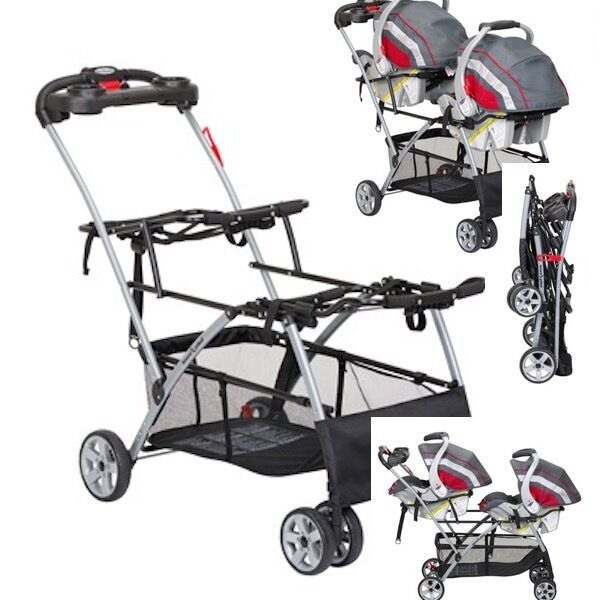 Universal Double Stroller Two 2 Infant Car Seat Frame Twins Baby ...