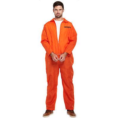 MENS PRISONER COSTUME ORANGE CONVICT BOILER SUIT COPS AND ROBBERS FANCY DRESS