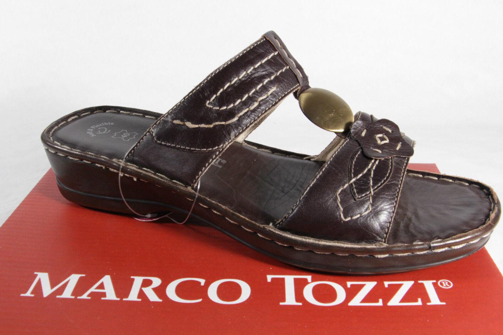 Marco VERA Tozzi DONNA PANTOFOLE SANDALI VERA Marco PELLE MARRONE NUOVO d8e131