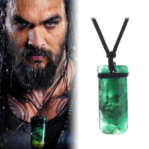 1Pc Movie AQUAMAN Maori Jade Toki Pendant Necklace Hand Carved Prop Cosplay Gift