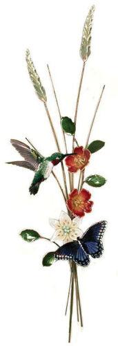 Bovano #W4713 Hummingbird and Butterfly Vertical Metal Wall Art Decor Sculpture