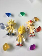 Super Sonic, Shadow, And Silver Action Figure Set With Chaos Emeralds