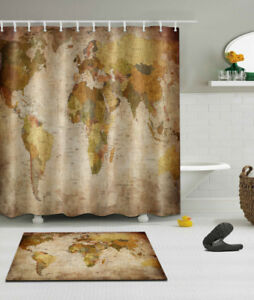 Details about World Map Shower Curtain Set 71/79\