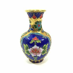 "4"" Asian Cloisonne Style Enamel Vase with Floral Motif in Blue & Red"