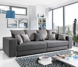 Details zu Bigsofa Adria Big Sofa Wohnzimmer Couch in Stoff grau mit vielen  Kissen