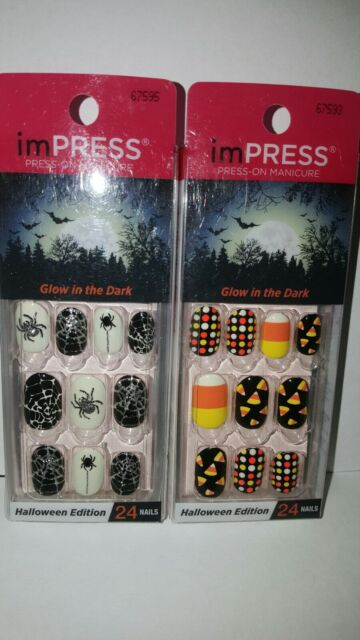 2 KISS imPRESS NAILS Press-On Manicure Mixed Oval ...