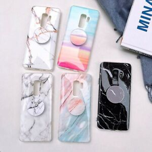 Marble-Holder-Stand-TPU-Case-Glossy-Cover-For-Samsung-Galaxy-S8-S9-S10-Note-8-9