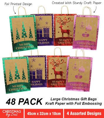 Christmas Bags In Bulk.Bulk 48 X Large Kraft Christmas Gift Bags With Carry Handles 45 X 32 X 10cm Foil 9326243176502 Ebay