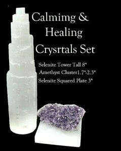 Large-Selenite-Crystal-Tower-8-034-Amethyst-and-Selenite-Plate-3-034