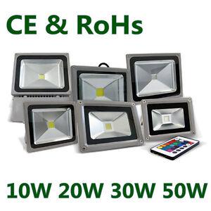 10/20/30W 50W LED Flood Light White RGB Landscape Spot Lamp Outdoor Waterproof