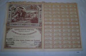 500 Franc Aktie Compagnie Imperiale Des Chemins De Fer Éthiopiens 1898 (127825)
