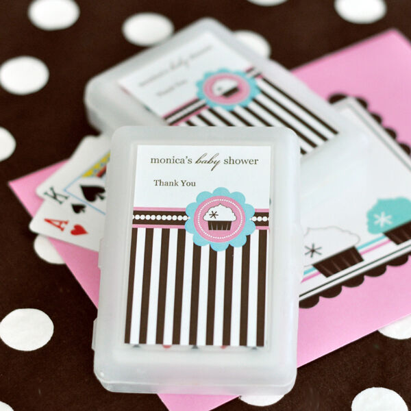 100 Sets Cupcake Party Personalized Playing Cards Baby or Bridal Shower Favors