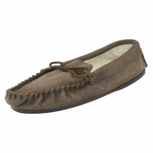 Spot On Homme Vamp Moccasin Polaire Doublé Chaussons