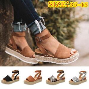 Women-039-s-Ankle-Strap-Flatform-Espadrilles-Ladies-Summer-Platform-Wedges-Shoes-ILC