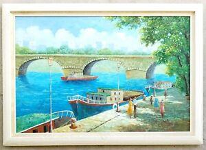 B-TRAPP-Original-Painting-Vintage-Boats-Bridge-Parisian-Art-Canal-Impressionist