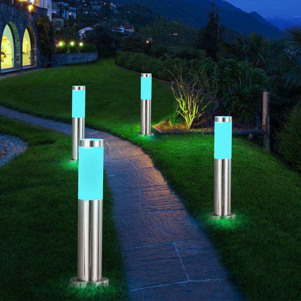 4er set LED exterior pie lámparas jardín patio camino luminarias RGB control remoto regulable